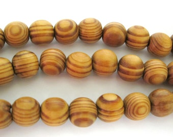 10 Beads -Light weight Round Wood swirl stripe design Beads 11 - 12 mm size - NB0139