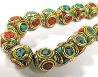 2 beads -  Large 13 -1 4 mm Tibetan nepal brass beads with turquoise coral inlay - BD799