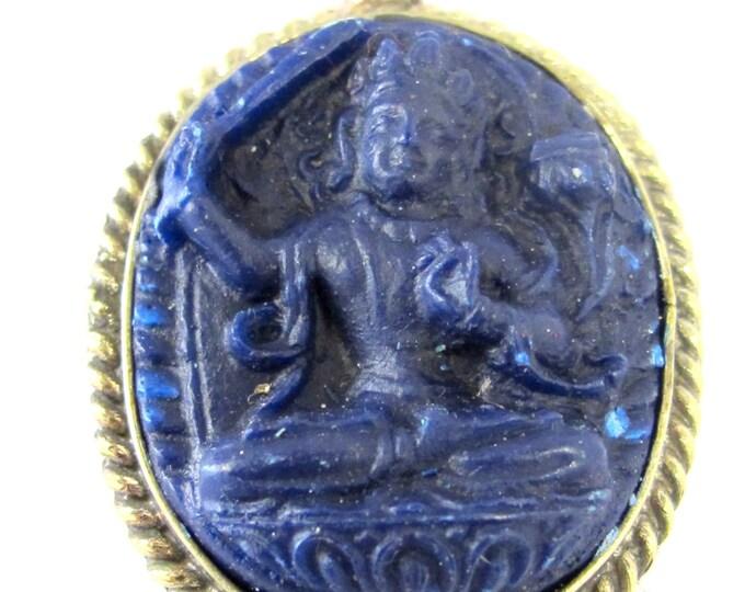 1 Pendant - Oval shape Tibetan blue Manjushri pendant from Nepal - PS010