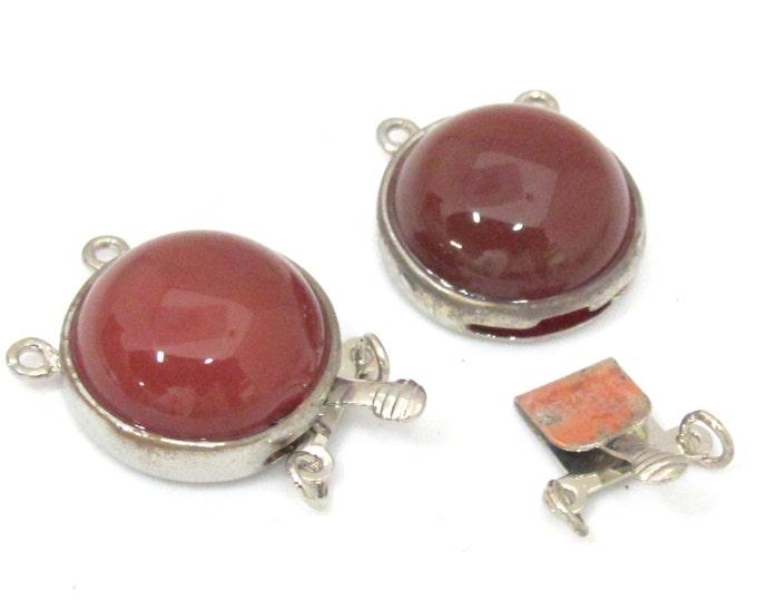 1 clasp - Beautiful red agate gemstone inlaid platinum finish box clasp pendant - LN015B