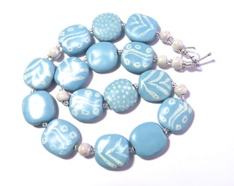 Ceramic Jewelry, Kazuri Bead Necklace, Statement Necklace, Blue and White Necklace