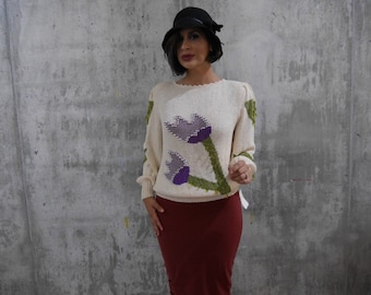 Tulips and Jewels Vintage Hand Knit Sweater