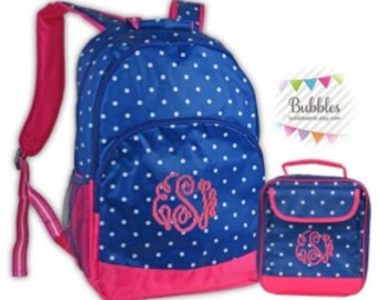 MONOGRAM INCLUDED Girls' Polka-Dotted Backpack and Lunchbox Set!