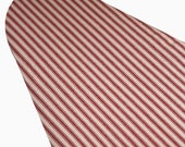 PADDED Ironing Board Cover Custom designer ironing board cover ELASTIC on EDGES red and cream pillow ticking print fabric select your size