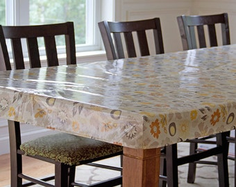 """Oilcloth tablecloth, laminated cotton tablecloth, fitted tailored tablecloth, Custom RECTANGULAR or SQUARE 56"""" wide fabric pick your fabric"""