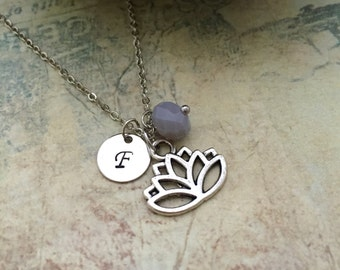 ON SALE- Lotus Necklace, Initial Necklace, Yoga Necklace, Handstamped Necklace, Friedship Necklace, Bridesmaid Gift, Gift Ideas, Charm Neckl