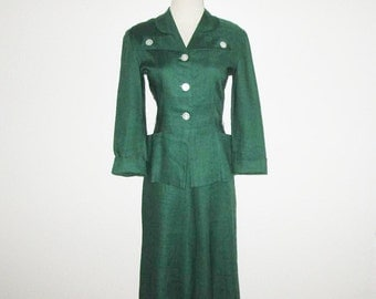 Vintage 1940s 1950s Green Linen Suit With MOP Buttons - S, M