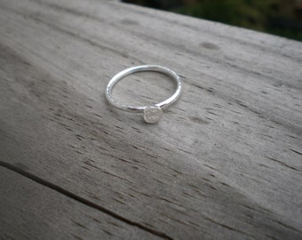 White Topaz Stacking Ring, Sterling Silver, Size 7.5