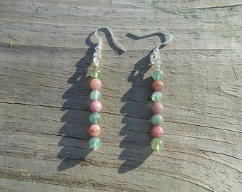 Natural Apatite and Ruby French Hook Earrings