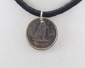 Canadian Boat Coin Necklace, 10 Cents, Mens Necklace, Womens Necklace, Coin Pendant, Leather Cord, 2006