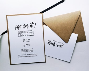 She/He Did It! Graduation Party Invitation & Thank You Notecards