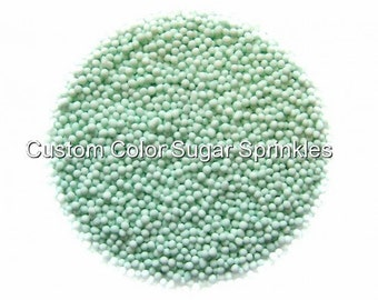 Mint Green Nonpareils Edible Sprinkles Cakepops Cupcake CandyConfetti Decorations 2oz.