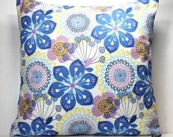 18 x 18 inch Decorative Throw Pillow Cover- Blue and Purple Flowers on White - Invisible Zipper Closure