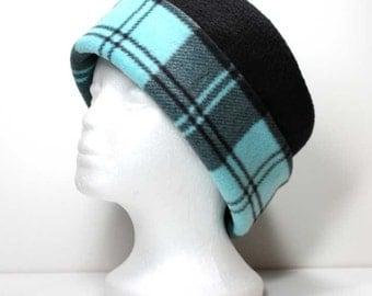 Aqua / Turquoise & Black Plaid Brim and Black Fleece Hats Ladies Fleece Hat Warm Hat Winter Hats Womens Pillbox Hats Kids Child Fleece Hats