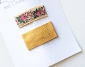Leather and vintage floral snap clip set- mustard leather and ivory pink floral