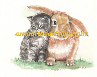 Rabbit and Kitten Two Sweet Friends Childrens Room Decor