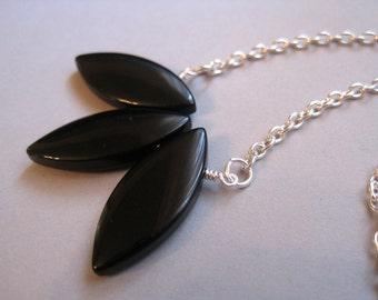 Jet Lotus Necklace, Black Stone, Modern Necklace, Pendant, Silver Tone Chain, Petals Necklace