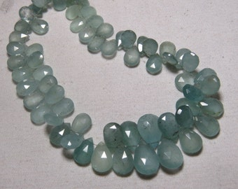 AQUAMARINE - AAA - High Quality Natural Blue Color - Faceted Pear Shape  Briolettes Size - 9 - 15 mm  - 10 inches Long - 165 Crt