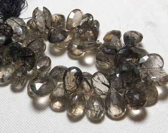 240 / Cts - So Gorgeous - AAAAA - High Quality - Black RUTILATED Quartz - Transparent - Faceted Pear Briolltes Huge size 13 - 19 mm