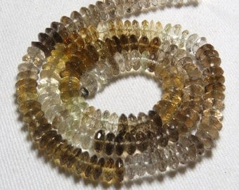 Excellent - Trully Gorgeous - Shaded Beer Quartz - Micro Faceted German Cut Faceted Rondelle Beads - size 6.5 - 7 mm
