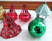 1950's Plastic Christmas Ornaments Red, Gold, Green, Blue Assorted Shapes Vintage Tree Ornaments