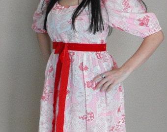 SHOP SALE Hippie Maxi Bird Print Dress Pink Red Cotton Empire Vintage 70s 1970s S M
