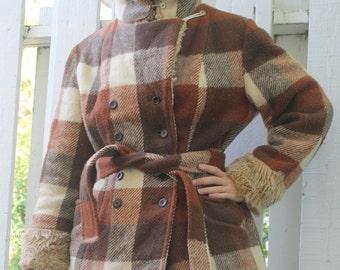 70s Plaid Coat Earth Tones Vintage Brown Rust Jacket S