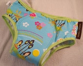 PREMIUM - NEW COLOR Cotton Toddler Girls Training Underwear with Waterproof Pad - Bright Turquoise Hawaiian Theme - Hula Dance 3114