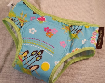PREMIUM - NEW COLOR Cotton Toddler Girls Training Underwear with Waterproof Pad - Bright Turquoise Hawaiian Theme - Hula Dance 3114
