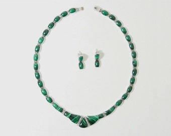Vintage Hinge Link Malachite Choker Necklace and Earring Set, Sterling Silver Taxco Mexico .950