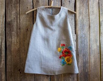 Embroidered Dress, Flower Girl dress, Summer party dress, Girl clothing,  Toddler Dress, Handmade girl dress, Linen dress natural, Dresses