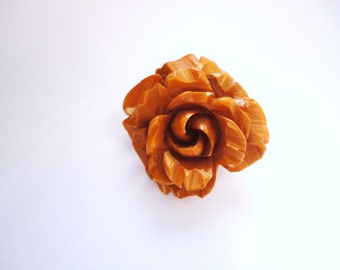 Awesome Heavily Carved Bakelite Brooch