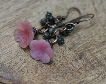 Carved Pink Quartz Flower  . Just a Flower . earrings -  pink romantic flower garden , copper rustic flower daisy , copper chain , bohemian