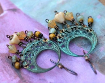 Bohemian Bouquet  earrings a9- boho verdigris patina, Czech flowers , Picasso glass ,  circle, ring , metalwork artisan , delicate , light
