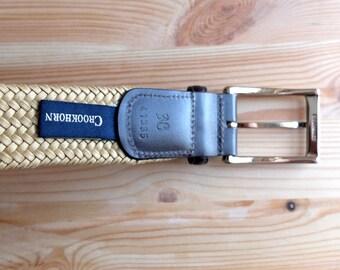Men's Vintage Crookhorn Woven Fabric Belt - size 38 Waist - Buff Colored - Like New - Modern Prep - Nantucket Cool