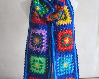 Granny square scarf, crochet, warm, long, blue, colorful shawl, handmade, patchwork, unique design,lady gift, gorgeous,hippie style