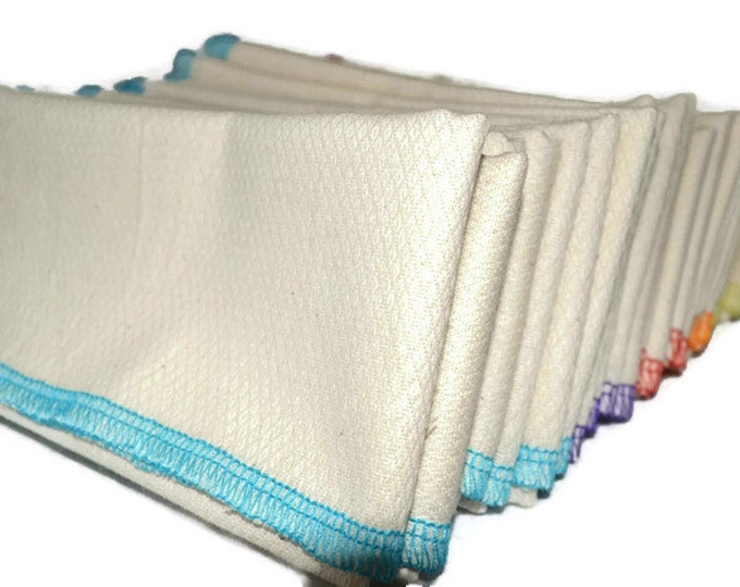 2 pack 2-Ply GOTS Certified Organic Cotton Birdseye Large Towels.....Your Choice of Edging Color