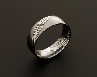 Genuine stainless Damascus Steel Mens Ring PD92