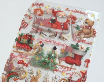 Christmas cello gift bags - fun design with santas, angels and sleighs - 14.5 x 23.5 cm - set of 10