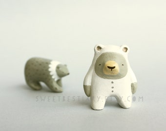Bear totem -  Grey bear in a polar bear suit - Animal figurine  - woodland creature art  - made to order