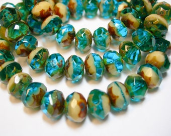 25 8x6mm Capri Blue / Ivory Picasso Czech glass Rondelle beads