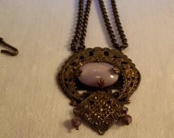 Necklace, Bohemian Necklace, Boho Jewelry, Rolo Chain Necklace, Purple Necklace