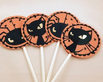 Halloween cupcake cat/spider toppers
