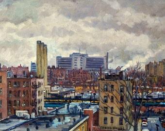 Overcast, The Bronx from Manhattan. Original Oil Painting, 12x20 Oil on Canvas, Urban Realist New York City Fine Art, Signed Original Oil