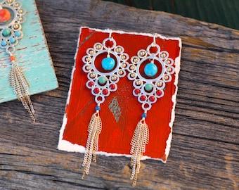 Boho Bling Earrings, Turquoise Drop Earrings, Coral Drop Earrings