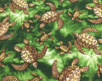 Tropical Cotton Hawaiian Print with turtles (Yardage Available)