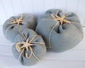 Burlap pumpkins with starfish