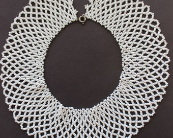 Lacy White Beaded Collar Necklace