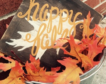 9x8 happy fall sign  - hand painted distressed wooden sign