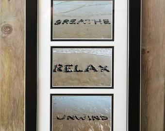 Beach Inspired Art BREATHE RELAX UNWIND- Coastal Photo Grouping of 3, spiritual sentiments, beach stones, words, relaxing beach photography